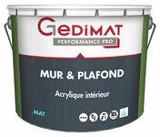 Peinture acrylique mur & plafond mat blanc 10 L GEDIMAT PERFORMANCE PRO ECOLABEL - Peintures - Peinture & Droguerie - GEDIMAT