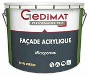 Peinture façade acrylique certifié ecolabel GEDIMAT 10L coloris pierre - Brique terre cuite arase POROTHERM R20 ép.20cm haut.12,4 cm long.50cm - Gedimat.fr