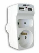 Prise électrique biplite 10 et 16A avec prise USB coloris blanc sous coque - Multiprises - Electricité & Eclairage - GEDIMAT