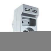 Prise électrique biplite 10 et 16A avec prise USB coloris chrome sous coque - Multiprises - Electricité & Eclairage - GEDIMAT