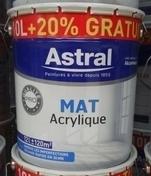 Peinture acrylique murale ASTRAL BI-COUCHE aspect mat pot de 10L + 20% gratuit coloris blanc base white - Impression universelle 10 L GEDIMAT PERFORMANCE PRO - Gedimat.fr