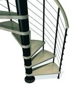Escalier hélicoïdal KLOE acier/bois diam.1,40m haut.2,53/3,06m finition noir/bois clair - Fenêtre bois exotique lamellé collé sans aboutage isolation totale 160mm 2 vantaux ouvrant à la française vitrage transparent haut.1,35m larg.1,00m - Gedimat.fr
