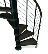 Escalier hélicoïdal KLOE acier/bois diam.1,40m haut.2,53/3,06m finition noir/bois foncé - Escaliers - Menuiserie & Aménagement - GEDIMAT