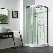 Cabine 1/4 rond hydro JADE portes coulissantes haut.2,21m long.90cm - Cabine carrée hydro JADE portes coulissantes haut.2,24m larg.90cm long.90cm acier - Gedimat.fr