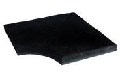 Angle rentrant plat dalle pour terrasse ou piscine en pierre reconstituée ARDOISIERE dim.42,5x42,5cm rayon de 150mm coloris anthracite - Carrelage pour sol en grès cérame émaillé EASY dim.45x45cm coloris grey - Gedimat.fr