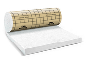 Laine de verre en panneau roulé PureOne 35 QP revêtue kraft ép.200mm larg.1,20m long.3,20m - Té tampon émaillé noir mat diam.130mm - Gedimat.fr