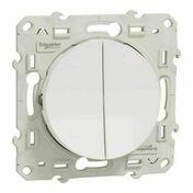 Interrupteur double va et vient encastré à composer Odace connexion rapide à vis blanc - Couvercle pour boîte d'encastrement carrée LEGRAND BATIBOX maçonnerie dim.80x80mm 1 poste blanc - Gedimat.fr