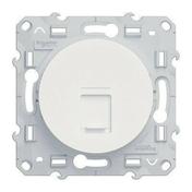 Prise de communication encastrée à composer RJ45 grade 1 (téléphone) à vis Odace blanc - Plaque de finition double CASUAL coloris blanc brillant - Gedimat.fr