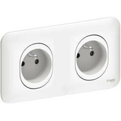 Double prise 2P+T pré-câblée encastré mono référence Ovalis blanc - Interrupteur simple va et vient lumineux encastré mono référence Ovalis blanc - Gedimat.fr