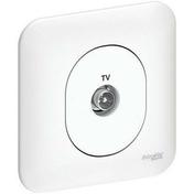 Prise de communication TV encastrée mono référence Ovalis blanc - Antennes et Accessoires TV - Electricité & Eclairage - GEDIMAT