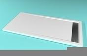 Receveur rectangulaire à poser AVORIAZ en solid surface haut.4,5cm larg.80cm long.160cm blanc - Porte coulissante 2 volets droite LINEA long.120cm verre transparent - Gedimat.fr