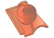 Tuile à douille ROMANEE avec chapeau diam.150mm coloris rouge - Rive ronde droite GALLEANE coloris silvacane littoral - Gedimat.fr