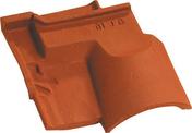 Tuile sous faitière 1/2 pureau OMEGA 13 coloris rouge - Rive individuelle gauche à emboîtement OMEGA 13 coloris rouge nuance - Gedimat.fr