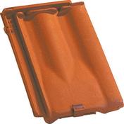 Tuile de ventilation DELTA 10 + grille coloris rouge - Demi-tuile demi-pureau RESIDENCE coloris brun rustique - Gedimat.fr