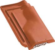 Tuile de ventilation PANNE H2 HUGUENOT + grille coloris rouge - Porte d'entrée KENJI avec isolation totale de 160 mm en acier gauche poussant haut.2,15m larg.90cm laqué gris 7016 - Gedimat.fr
