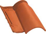 Tuile 3/4 pureau OMEGA 10 coloris vieilli nuance sur fond rouge - Profilé acier plat 35mm acier laminé à chaud ép.6mm long.2m - Gedimat.fr