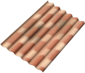 Plaque ondulée 6 ondes en fibres-ciment PLAKFORT 6 RURALCO long.1,75m larg.1,095m coloris Terrecoloris brune - Rive individuelle droite à emboîtement grand modèle coloris rouge - Gedimat.fr
