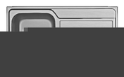 Evier à encastrer ATHENA inox 1 cuve + 1 égouttoir larg.86cm long.50cm anti-rayures - Profil bord à bord aluminium pour plan stratifié de 38mm chant avant rayons de 2/4mm - Gedimat.fr