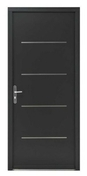 Porte d'entrée WYOMING en aluminium laqué gauche poussant haut.2,15 m larg.90 cm gris - Carrelage pour mur en faïence dim.20x20cm coloris mostaza - Gedimat.fr