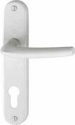 Ensemble de poignées de porte SAN DIEGO sur plaque en aluminium entraxe 165mm finition blanc avec trou de cylindre - Quincaillerie de portes - Menuiserie & Aménagement - GEDIMAT