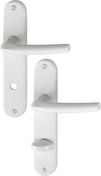 Ensemble de poignées de porte SAN DIEGO sur plaque en aluminium entraxe 165mm finition blanc à condamnation - Volet battant PVC ép.24mm blanc 2 vantaux haut.1,95m larg.1,00m - Gedimat.fr