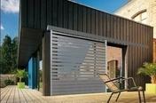 Brise soleil vertical en aluminium thermolaqué gris 7016 sablé Haut.2,25m larg.2,40m - Volets - Stores - Couverture & Bardage - GEDIMAT