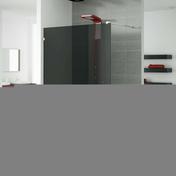Paroi de douche fixe haut.2,00m long.120cm profil� mural chrom� verre noir - Portes - Parois de douche - Salle de Bain & Sanitaire - GEDIMAT