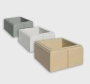 Elément de pilier DECO haut.16,7cm dim.32x32cm coloris blanc - Rive individuelle verticale à emboîtement gauche grand rabat coloris patrimoine - Gedimat.fr