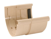 Jonction de dilatation pour gouttière PVC demi-ronde LG33 coloris sable - Fond de naissance à coller gauche pour gouttière PVC de 25 coloris sable - Gedimat.fr