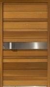Porte d'entrée NATIV 2 en bois red cedar gauche poussant haut.2,15 larg.90cm - Bloc de béton cellulaire linteau ép.20cm haut.25cm long.3,00m - Gedimat.fr