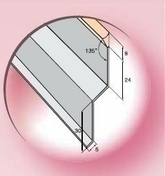 Solin joint mastic TERRASSE long.2m en Alu zinc - Tuile DELTA 10 coloris rouge nuance - Gedimat.fr