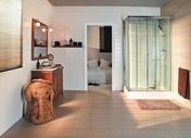 Meuble à poser + plan + miroir CHARME pin haut.80cm larg.45cm long.100cm lasuré bois - Porte-verre carre mat TOKIO chromé - Gedimat.fr