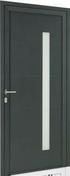 Porte d'entrée Aluminium GEOD gauche poussant haut.2,15m larg.90cm laqué gris - Porte de service GUAGNO en aluminium laqué gris droite poussant haut.2.15m larg.90cm - Gedimat.fr