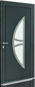 Porte d'entrée Aluminium KANSAS droite poussant haut.2,15m larg.90cm laqué gris - Porte d'entrée LUCILLE Aluminium laqué gauche poussant haut.2,15m larg.90cm gris - Gedimat.fr