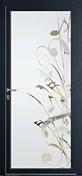Porte d'entrée Aluminium MUSIA gauche poussant haut.2,15m larg.90cm laqué gris - Fenêtre bois exotique lamellé collé sans aboutage isolation totale 100mm 2 vantaux ouvrant à la française vitrage transparent haut.1,15m larg.1,20m - Gedimat.fr