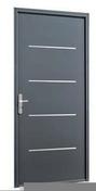 Porte d'entrée SAORI avec isolation totale de 120 mm en acier droite poussant haut.2,15m larg.90cm laqué gris - Porte de garage sectionnelle monobloc prémontée Rainures larges haut.2,125m larg.2,375m Gris - Gedimat.fr