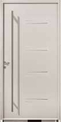 Porte d'entrée NAGANO en acier laqué droite poussant haut.2,15m larg.90cm blanc - Panneau de Particule Surfacé Mélaminé (PPSM) ép.8mm larg.2,07m long.2,80m Pin d'Alep finition Velours Bois poncé - Gedimat.fr