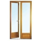 Porte fen�tre bois exotique lamell� coll� sans aboutage 2 vantaux ouvrant � la fran�aise. Soubassement serrure. Vitrage transparent haut.2,15m larg.1,20m - Fen�tres - Portes fen�tres - Menuiserie & Am�nagement - GEDIMAT