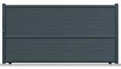 Portail coulissant LACAUNE en aluminium haut.1,80m larg.entre piliers 4,06m décor lames horizontales larges de 200mm profil 100x54 motorisable coloris gris - Tuile à douille DC12 diam.150mm coloris pastel occitan - Gedimat.fr