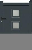 Portillon TERRA en aluminium haut.1,60m larg.entre piliers 1,05 m gris - Demi-tuile à rabat gauche à emboitement BEAUVOISE coloris vallée de Chevreuse - Gedimat.fr