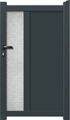 Portillon GEORGIE en aluminium haut.1,80m larg.entre piliers 1,05m gris - Porte d'entrée LUCILLE Aluminium laqué avec isolation totale de 140mm gauche poussant haut.2,00m larg.90cm gris - Gedimat.fr