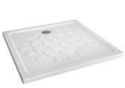 Receveur carré à poser ou à encastrer OCEAN en céramique haut.4cm larg.90cm long.90cm blanc - Accès d'angle carré 80-90 MARCO haut.185cm profilés aluminium laqué époxy blanc verre sérigraphiée - Gedimat.fr