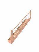 Escalier droit en hêtre lamellé collé avec rampe à lisses inox, adaptable en hauteur de 2,68 à 2,76 m par recoupe de la 1ère marche - Poutre VULCAIN section 20x40 cm long.3,50m pour portée utile de 2,6 à 3,10m - Gedimat.fr