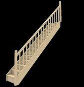 Escalier droit en sapin avec rampe à balustres bois, adaptable en hauteur de 2,68 à 2,76 m par recoupe de la 1ère marche - Feuille de stratifié HPL avec Overlay ép.0.8mm larg.1,30m long.3,05m décor Chêne Héléna finition Mat - Gedimat.fr