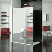 Paroi de douche fixe haut.2,00m long.90cm profil� mural chrom� verre miroir - Portes - Parois de douche - Salle de Bain & Sanitaire - GEDIMAT