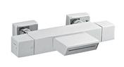 Thermostatique bain douche THERMOSUR 420 chromé - Plan de travail stratifié ép.38mm, pan coupé, dim.95x95cm R4 décor béton blanc - Gedimat.fr