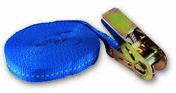 Sangle polypropylène avec tendeur à cliquet tension maximale d'utilisation 260kg Long.5,00m larg.25 mm coloris Bleu - Chaines - Cordes - Arrimages - Quincaillerie - GEDIMAT