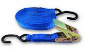 Sangle polypropylène avec tendeur à cliquet et 2 crochets tension maximale d'utilisation 130 kg Long.5,00m larg.25mm coloris Bleu - Chaines - Cordes - Arrimages - Quincaillerie - GEDIMAT