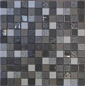 Emaux de verre de 2,5x2,5cm pour mur et piscine GALAXY GREY sur trame de 31,1x31,1cm coloris grey - Mosaïques - Galets - Revêtement Sols & Murs - GEDIMAT