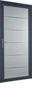 Porte d'entrée YOGA en aluminium laqué gauche poussant haut.2,15m larg.90cm - Bloc-porte coupe-feu 1H (EI 60) avec serrure huisserie de 78x56mm haut.2,04m larg.83cm droit poussant - Gedimat.fr